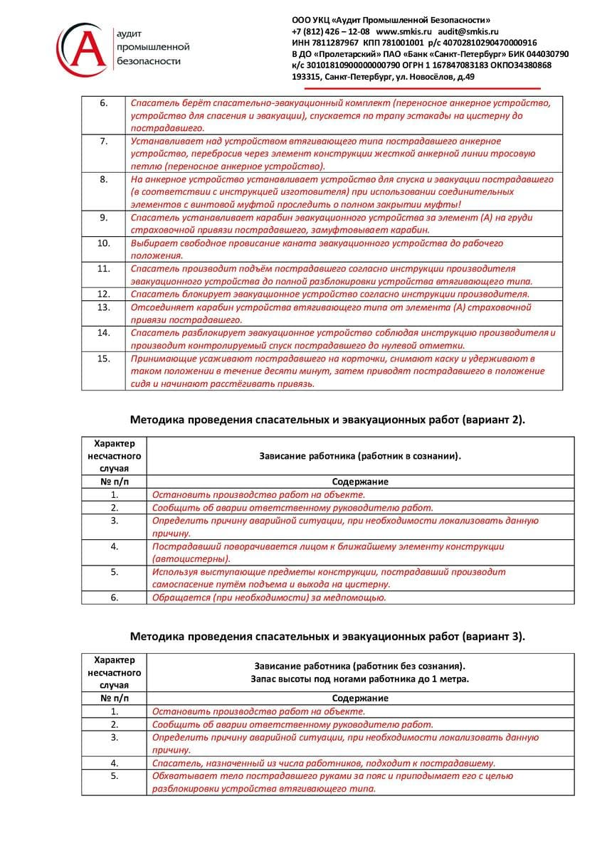 План мероприятий при аварийной ситуации и при проведении спасательных работ образец страница 3