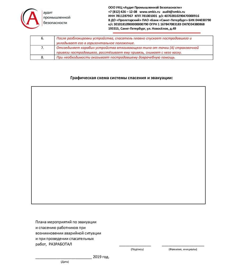 План мероприятий при аварийной ситуации и при проведении спасательных работ образец страница 4